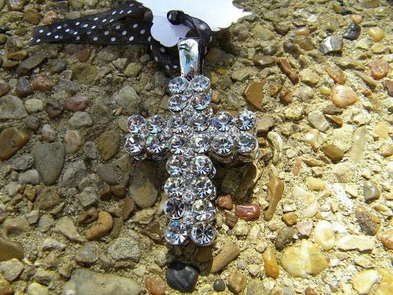 Silver Magnetic Rhinestone Cross