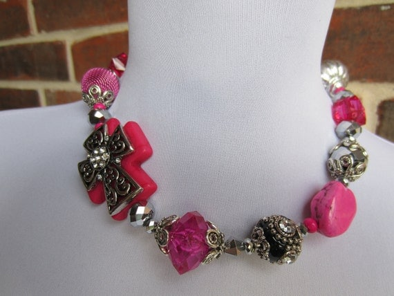 Beautiful Pink Turquoise and Silver Chunky Necklace with Cross