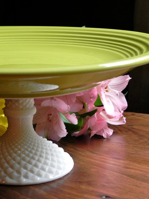 Cake Stand Cupcake Stand Dessert Pedestal Chartreuse And Milk Glass  By E. Isabella Designs. As Featured In Martha Stewart Weddings.