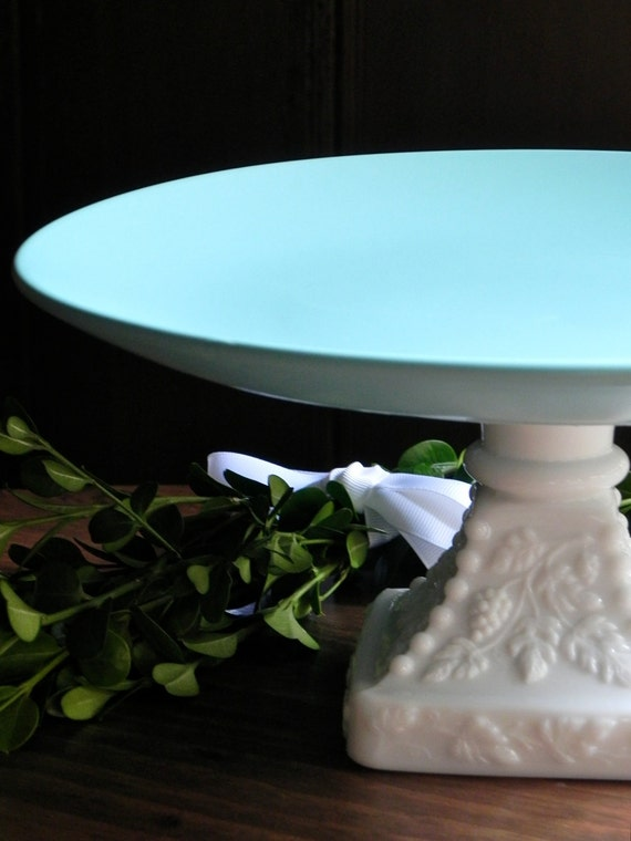 Cake Stand Cake Pedestal Cupcake Stand Wedding Decor Tiffany Blue And Milk Glass By E. Isabella Designs Featured In Martha Stewart Weddings.