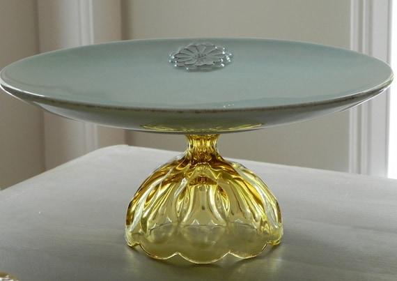 Cake Stand Dessert Pedestal Wedding Decor. Golden Wildflower By E. Isabella Designs. As Featured In Martha Stewart Weddings.