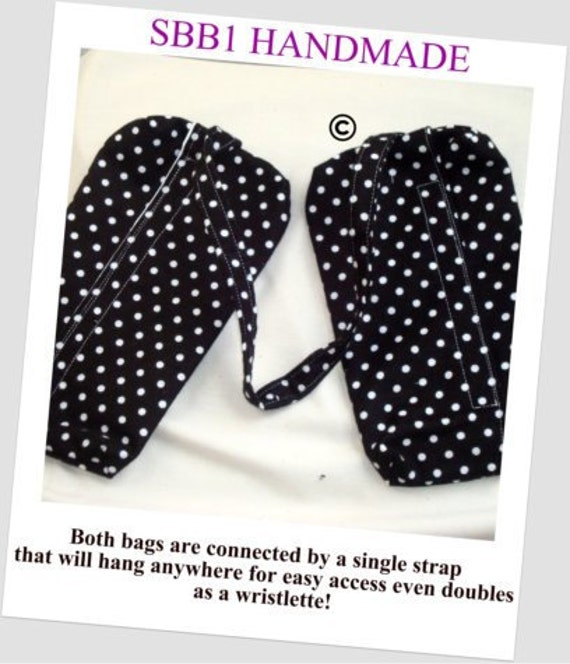 Wet Bag Menstrual Pad Bag with Dry Side Bag Many Uses Regular Size in Cotton Flannel  Polka Dots Choose Your Fabric