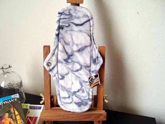 Organic Bamboo Velour Cloth Menstrual Pad in a OOAK Grey Swirl Hand Dyed Design