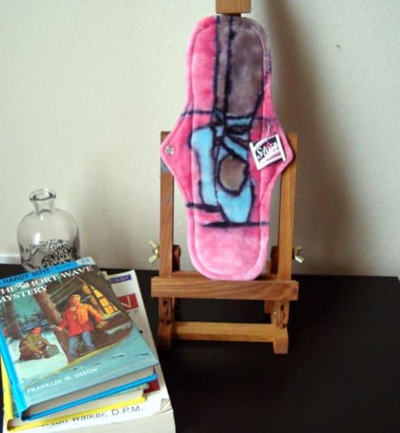 Organic Cloth Menstrual Pad Hand Dyed Ballerina Design OOAK Ready To Ship