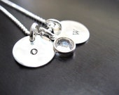 Hand Stamped Initial Necklace, Sterling Silver, Swarovski Crystal