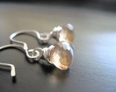 Apricot Quartz Earrings, Onion Briolettes, Sterling Silver, Wire Wrapped, Artisan Earwires