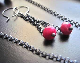 Ruby Faceted Quartz and Oxidized Sterling Silver Earrings