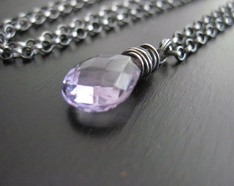 Amethyst Briolette Necklace Oxidized Sterling Silver Wire Wrapped