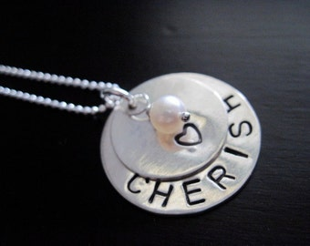 Cherish Hand Stamped Necklace Sterling Silver Handmade