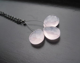 Pink Chalcedony Necklace AAA Faceted Pear Briolette Oxidized Sterling Silver