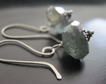 Moss Aquamarine Earrings, Sterling Silver Artisan Earwires, Wire Wrapped