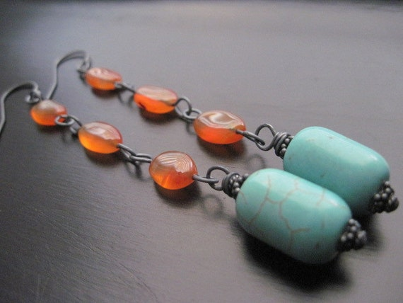 Aventurine, Magnesite Earrings, Oxidized Sterling Silver, Wire Wrapped