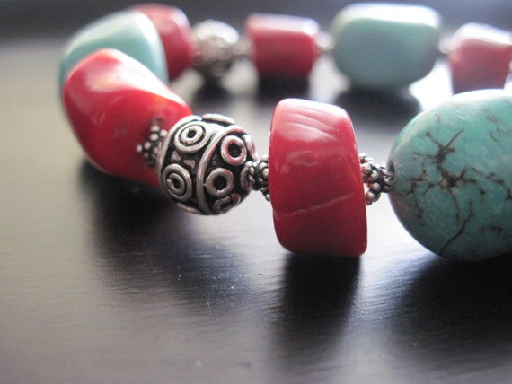Red Coral Bracelet, Genuine Turquoise, Bali Beads, Sterling Silver