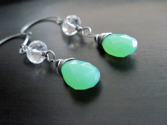 Green Chalcedony Briolette Earrings, Faceted Clear Quartz Rondelles, Oxidized Sterling Silver