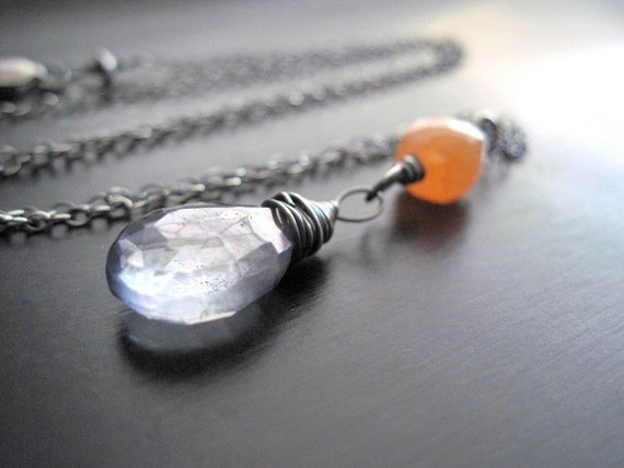 Mystic Blue Quartz Necklace, Peach Moonstone Cubes, Oxidized Sterling Silver, Wire Wrapped