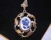 Vintage Whiting Davis DELFT BLUE Rose White Metal Pendant