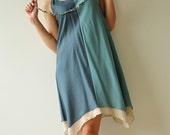 Two tone part II.... Cream-Blue Cotton Dress