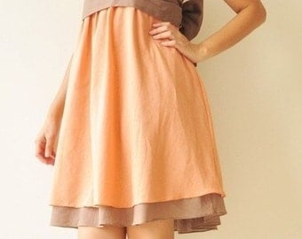 SALE 20% Wind of change Part II.... Orange-Brown Cotton Dress