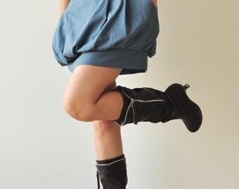 SALE 20% Tulip.... Blue Cotton Skirt - 3 Sizes Available
