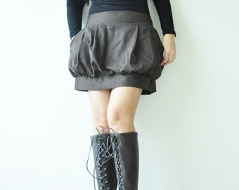 SALE 50% Tulip ...... Dark Brown Cotton Skirt- Size M