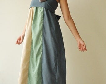 SALE 20%  The Line Part II ...Green Blue Maxi Cotton dress