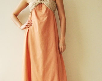 SALE 20% Feel So Good ...Orange Halter Maxi Cotton dress  2 Sizes Available