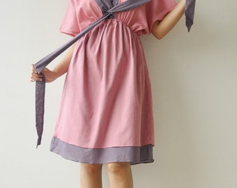 Butter Fly II ...Pink and Purple Cotton Dress
