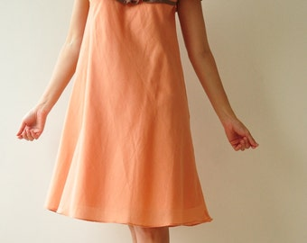 SALE 50% Wave.... Off The Shoulder Orange Brown Cotton Dress (Linmited)
