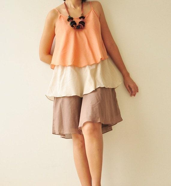 SALE 50% Magic Three  ...Orange and cream Cotton dress