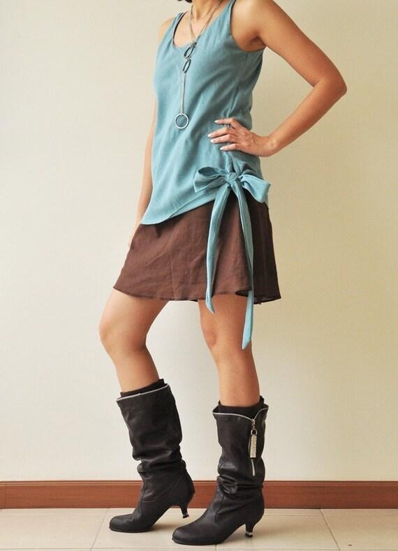 Match.... Blue-Brown Cotton Dress