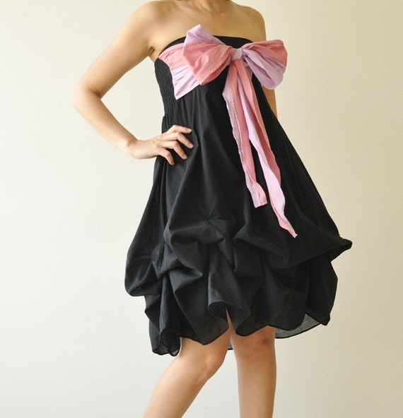 vary ...  Black-Pink Cocktail Dress