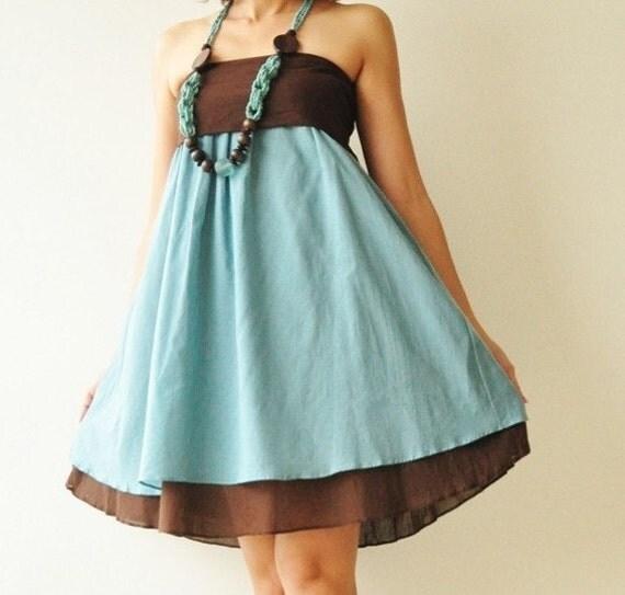 SALE50% Wind of change Part II.... Blue-Brown Cotton Dress