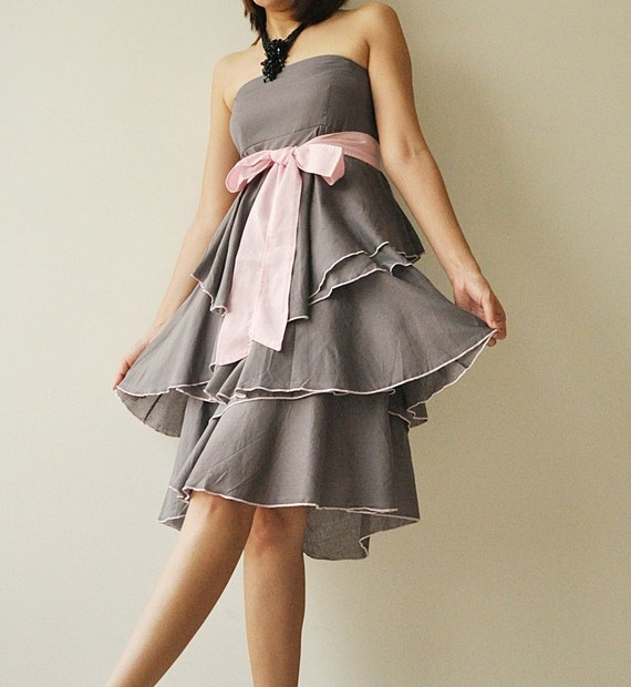 SALE 20% Waft ... Gray - Pink Cocktail Dress 2 Sizes Available