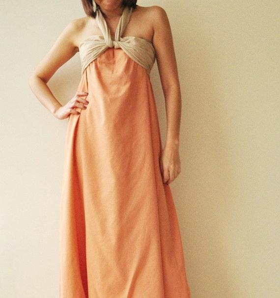 SALE 20% Feel So Good ...Orange Halter Maxi Cotton dress  2 Sizes Available