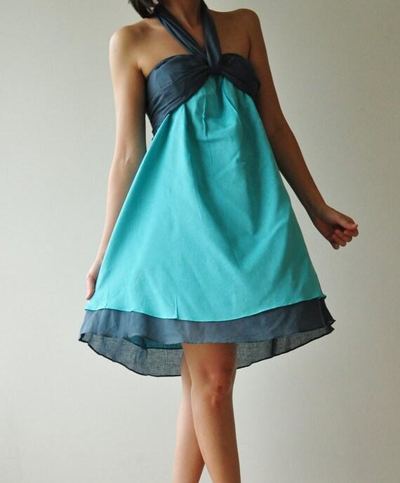 SALE 20% Feel So Good - Short ...Blue Halter Maxi Cotton dress