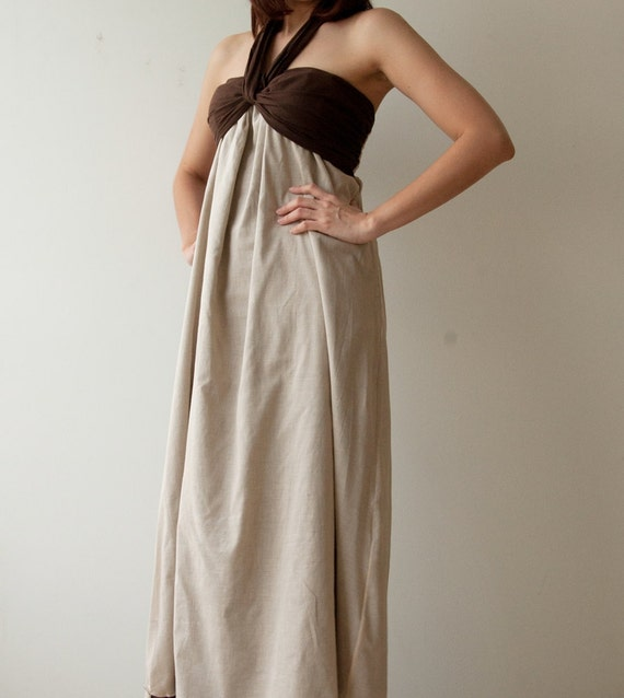 SALE 50% Feel So Good ...Cream Brown Halter Maxi Cotton dress