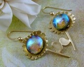 Dichroic fused earrings,  Sunny Flowers