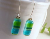 Fused Glass Earrings, Lime Green and Teal, Sterling Wires