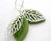 Green Leaf Earrings, Botanical Jewelry, Sterling Ear Wires, Glass Earrings