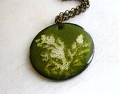 Enamel Pendant, Green Enamel Necklace