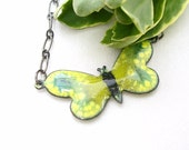 Clearance sale, Yellow Butterfly Necklace, Enamel Necklace, Yellow and Blue Enamel Butterfly Pendant