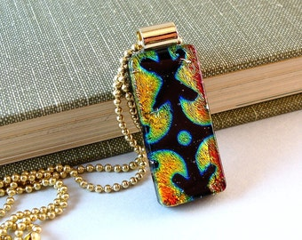 Gold and Black Glass Pendant, Dichroic Glass Necklace, Fused Glass Jewelry