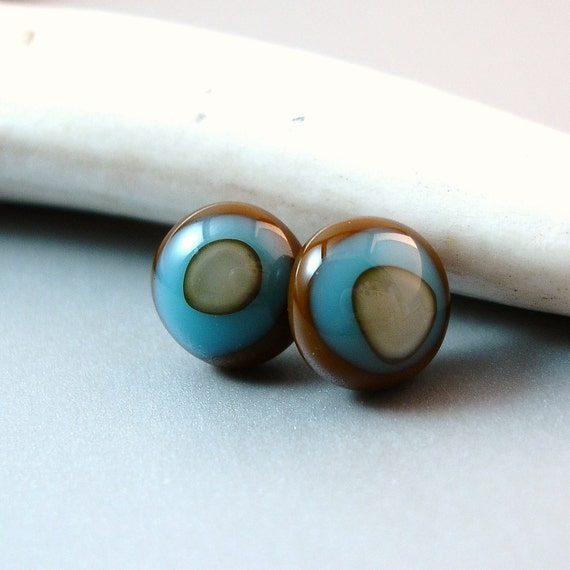 Teal and Brown Post Earrings, Fused Glass Jewelry
