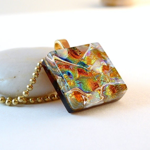 Fused Glass Necklace, Orange Dichroic Fused Glass Pendant