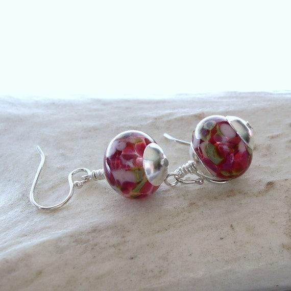 Pink Glass Earrings,  Lampwork Glass Beads, Sterling Silver Ear Wires