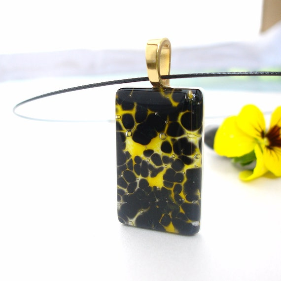 Leopard Print Necklace and Pendant, Fused Glass Jewelry