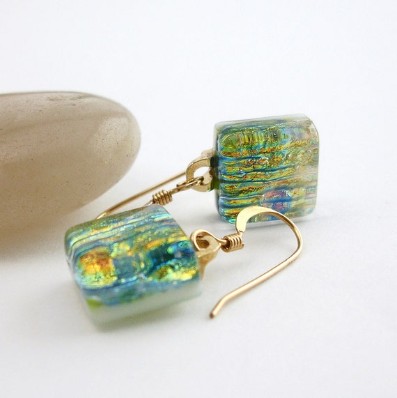 Fused Dichroic Glass Earrings, Dichroic Jewelry, Gold Filled Wires