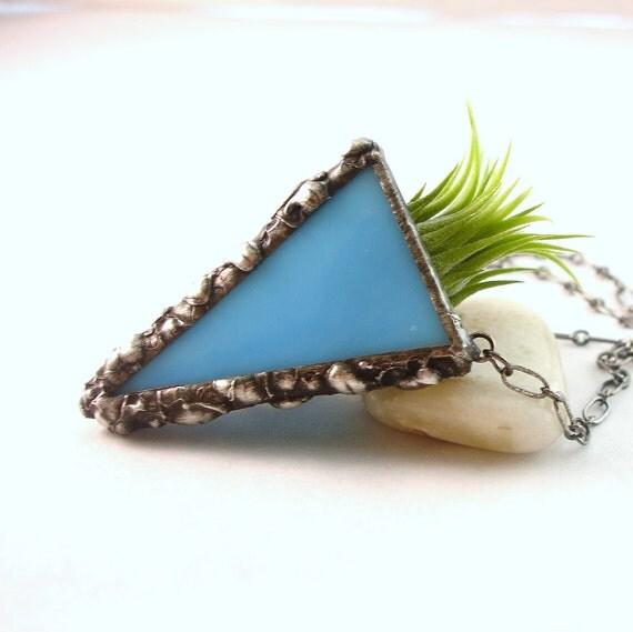 Plant Pendant, Aqua Blue Stained Glass Live Plant Necklace