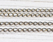 3 feet anitqued brass plated, 2.8 mm curb chain