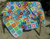 Granny square afghan blanket, warm wrap, colorful, handmade, crochet, patchwork, blue and purple, cozy